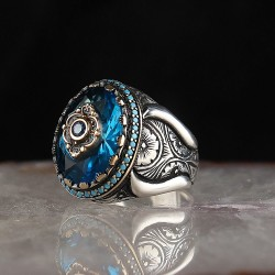 Kalem İşçilikli Aqua Blue Taşlı Erkek Gümüş Yüzük