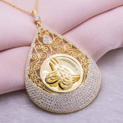 925 Ayar Gümüş Altın Kaplama Tuğralı Damla Kolye Model 2