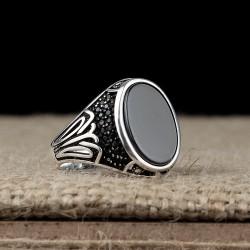 925 Ayar Gümüş Mikro Taşlı Oval Model Onıxy Taşlı Yüzük