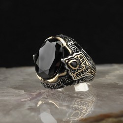 Siyah Zirkon Taşlı 925 Ayar Gümüş Erkek Yüzük