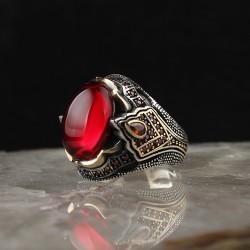 Kırmızı Zirkon Taşlı 925 Ayar Gümüş Erkek Yüzük