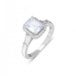 Baget Taşlı Gümüş Kadın Yüzüğü