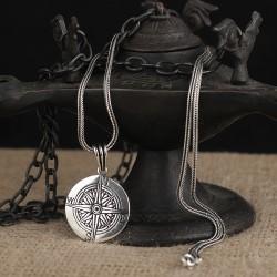 925 Ayar Gümüş Pusula Motifli Kolye