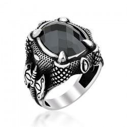 Siyah Zirkon Taşlı Kartal Pençeli Erkek Gümüş Yüzük