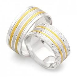 925 Ayar Gümüş Çift Şerit Gold Zirkon Taşlı Bay Bayan Alyans