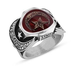 925 Ayar Gümüş Ayyıldız Model Vatan Millet Yüzüğü