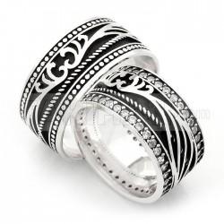 925 Ayar Gümüş Otantik Zirkon Taşlı Bay Bayan Alyans