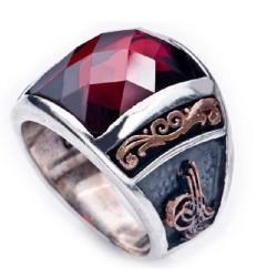 925 Ayar Gümüş Özel Tasarım Tuğra ve Devlet Arması Motifli Zirkon Taşlı Yüzük