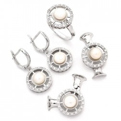 925 Ayar Gümüş Zirkon Taşlı Oval Model Set