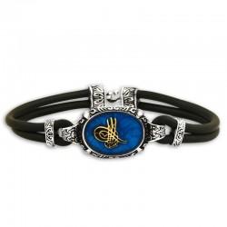 Osmanlı Tuğralı Mavi Mineli 925 Ayar Gümüş Bileklik