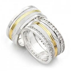 925 Ayar Gümüş Tek Şerit Gold Zirkon Taşlı Bay Bayan Alyans