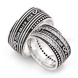 925 Ayar Gümüş Zirkon Taşlı Sonsuza Dek Yazılı Bay Bayan Alyans