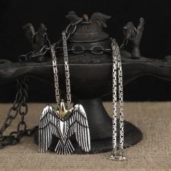 925 Ayar Gümüş Kral Zincirli Kartal Motifli Kolye