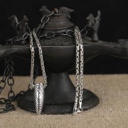925 Ayar Gümüş Kral Zincirli Parmak izi Mermi Model Kolye