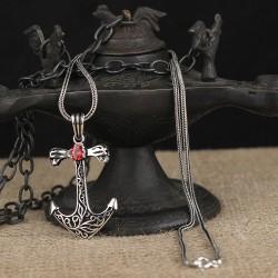 925 Ayar Gümüş Zirkon Taşlı Gemi Çapası Model Kolye